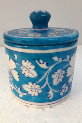 Blue Pottery Handcrafted Storage Jar-86