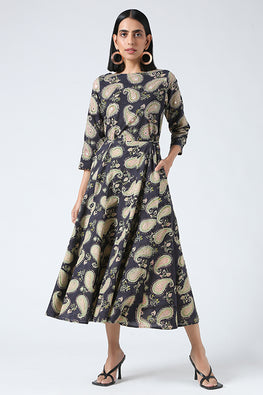 Okhai 'Paisley' Embroidery Mirror Work Cotton Hanblock Printed Dress