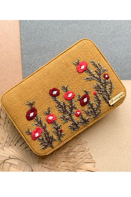 Dhaaga Handcrafts-Mustard floral box clutch