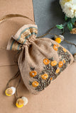 Dhaaga Handcrafts - Natural Jute Potli with floral handemboridery embellished with bugle beads