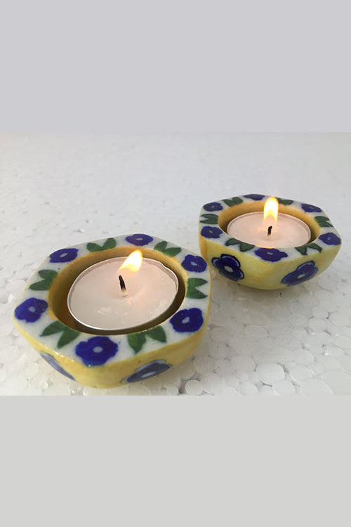 "Ram Gopal Blue Pottery Handcrafted ""T-Candles"" Yellow Candle Stand  (Set Of 2)-18"
