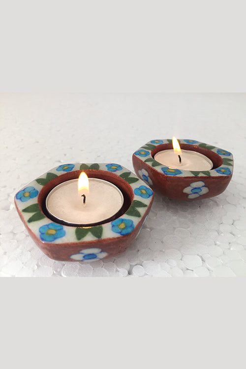 "Ram Gopal Blue Pottery Handcrafted ""T-Candles"" Red Candle Stand  (Set Of 2)-24"