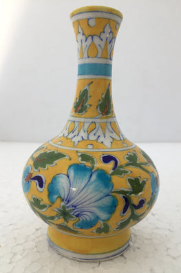 "Ram Gopal Blue Pottery Handcrafted 'Surahai Vase"" Yellow Flower Vase-D"
