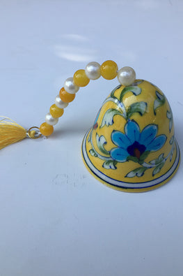 "Ram Gopal Blue Pottery Handcrafted ""Christmass Bells Small"" Yellow Bells  (Set Of 2)-11"