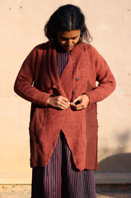 Harsil wool hand knitted and hand woven natural dyed Rust Overcoat by Peoli (Small)
