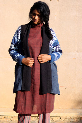 Harsil wool hand knitted and hand woven natural indigo dyed Diamond long Overcoat by Peoli (Medium)