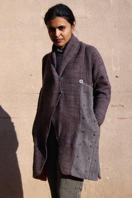 Harsil wool hand knitted and hand woven natural dyed Ash Overcoat by Peoli (Medium)