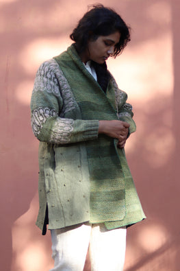 Harsil wool hand knitted and hand woven natural dyed Olive Overcoat by Peoli (Large)