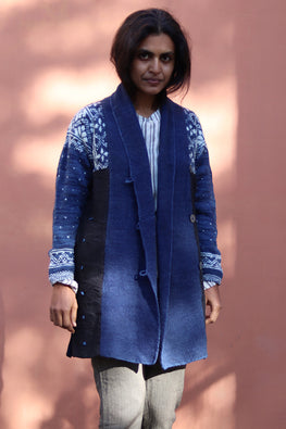 Harsil wool hand knitted and hand woven natural indigo dyed Snowlfake Overcoat by Peoli (Small)