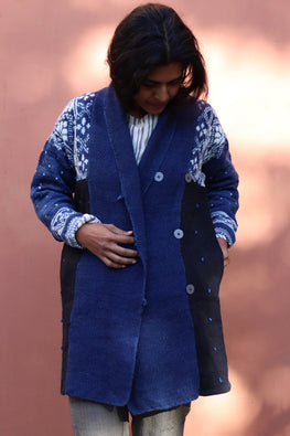 Harsil wool hand knitted and hand woven natural indigo dyed Snowlfake Overcoat by Peoli (Medium)