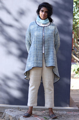 Patanwadi Wool hand spun handwoven natural dyed double weave jacket by Khamir