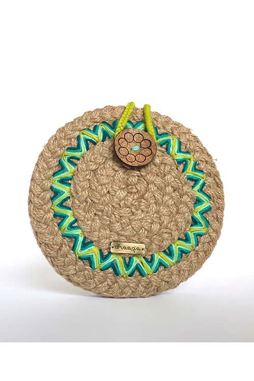 Dhaaga Handcrafts-Round Mini Natural Aztec sling bag
