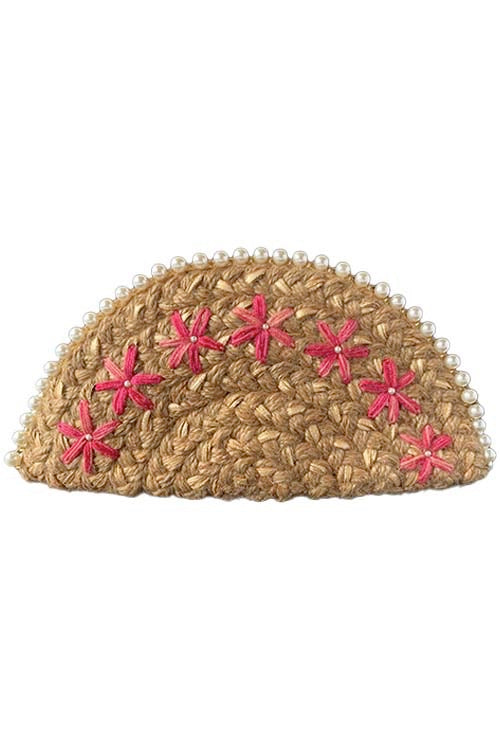 Dhaaga Handcrafts-Rose Gold pink flowers half moon clutch