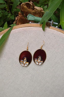 Whebyabira-Brown Oval Enamel Drop