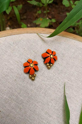 Whebyabira-Orange Clay Flower Stud