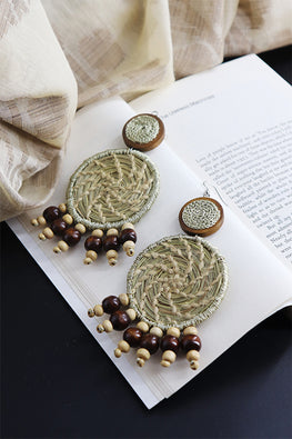 Whe Natural Sabai Grass and Wooden Bead Earring
