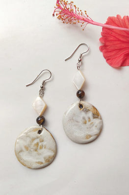 Whebyabira-Long White Ceramic Dangler