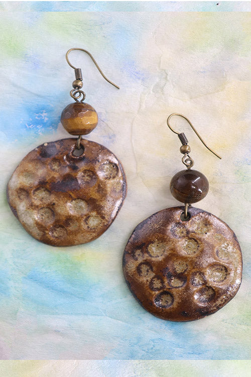 Whebyabira-Tiger Eye Textured Ceramic Dangler