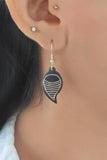 Whebyabira Pure Silver Inlay Bidri Leaf Dangler Earring