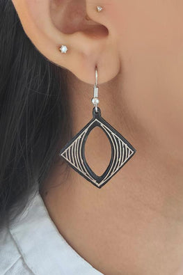 Whebyabira Pure Silver Inlay Bidri Square Eye Dangler Earring