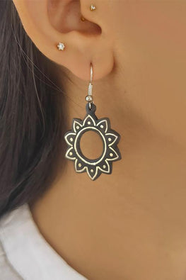 Whebyabira Pure Silver Inlay Bidri Flower Dangler Earring-1