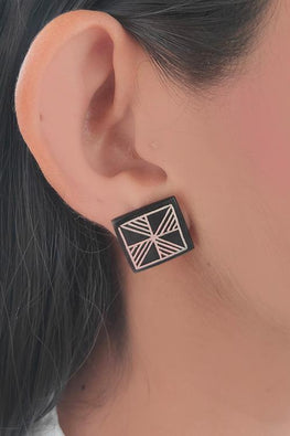 Whebyabira Pure Silver Inlay Bidri Square wheel Stud Earring