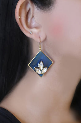 Whebyabira-Royal Blue Enamel Earring