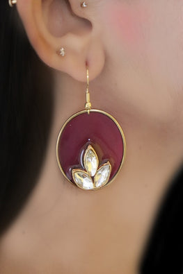 Whebyabira-Dark Purple Enamel Earring