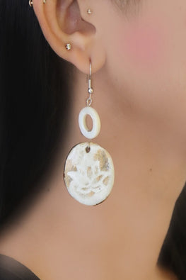 Whebyabira-Mother of Pearl and Handmade Ceramic Earring