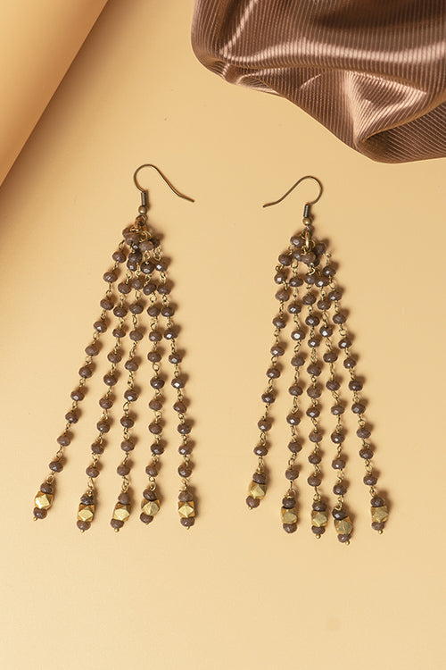 Whe Brown Genuine Semiprecious Gemstone and Dokra Brass Earring