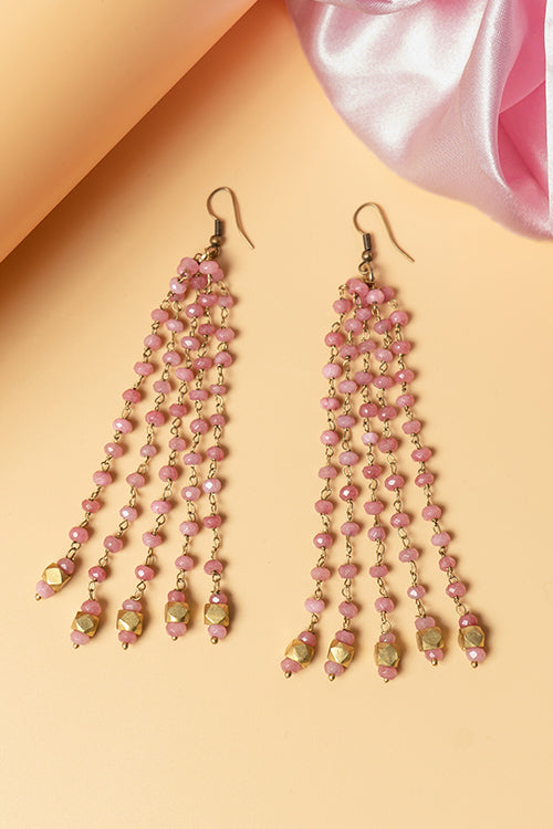 Whe Pink Genuine Semiprecious Gemstone and Dokra Brass Earring