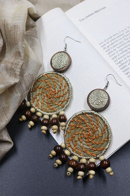 Whe Handmade Orange Sabai Grass and Wooden Bead Earring