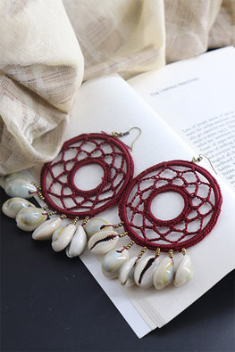 Whe Handcrotcheted Round Maroon Shell Earring