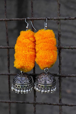 Okhai 'Festive' Orangee Pom-Pom Earrings