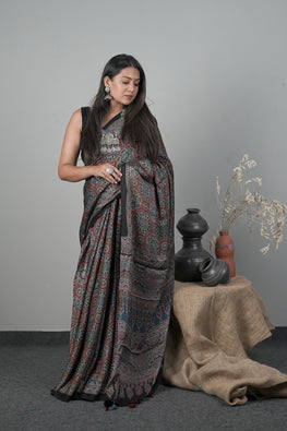 JK,Traditional Ajrakh Hand block Printed Modal-Silk Indigo Blue color Saree