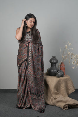 JK,Traditional Ajrakh Hand block Printed Modal-Silk Saree Color Black-1