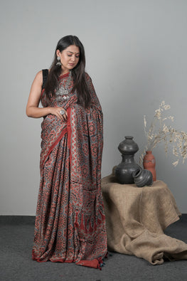 JK,Traditional Ajrakh Hand block Printed Modal-Silk Saree Color -Red