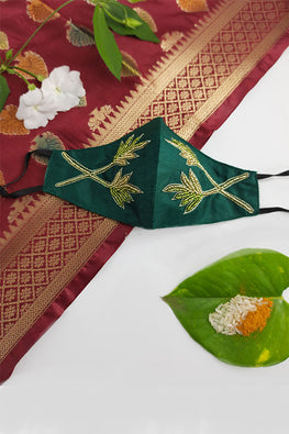 Green Festive Hane-embroidered Mask