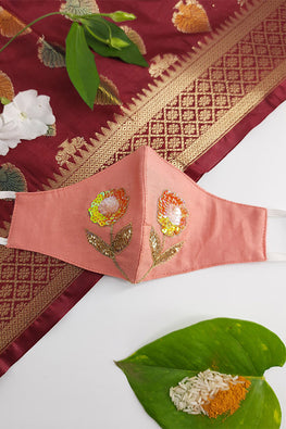 Peach Festive Hand-embroidered Mask