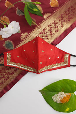 Whebyabira Red Festive Hand Embroidered Cotton Mask Online