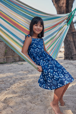Okhai Blue Hand Block Printed Indigo Cotton Kids Dress Online