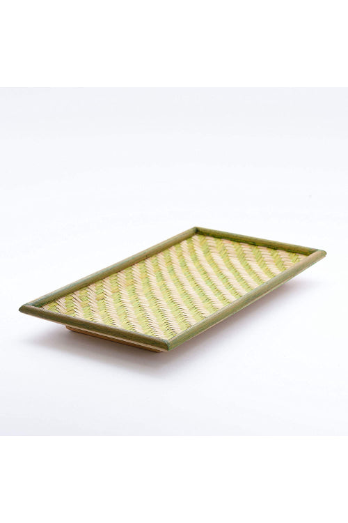 Handmade Bamboo Cereal Tray - Small (Green) With Cashews