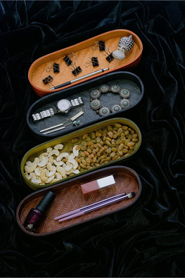 Handmade Bamboo Olive Tray (Orange) With Cashews