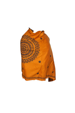 Kantha Handcrafted Needle work Cashmilon Wool Mustard Shawl