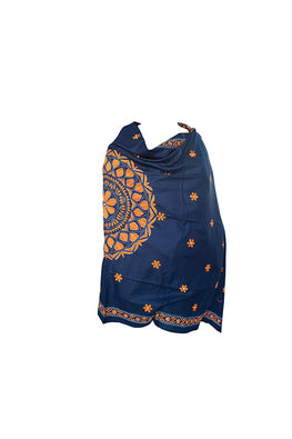 Kantha Handcrafted Needle work Cashmilon Wool Orange Navy Shawl