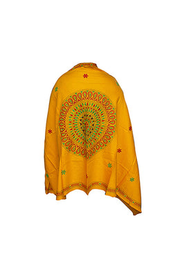 Kantha Handcrafted Needle work Cashmilon Wool Yellow Shawl