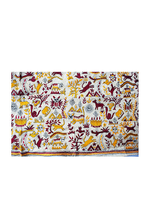 Kantha Handcrafted Needle work Mixed Tussar Yellow Brown Animal Stole