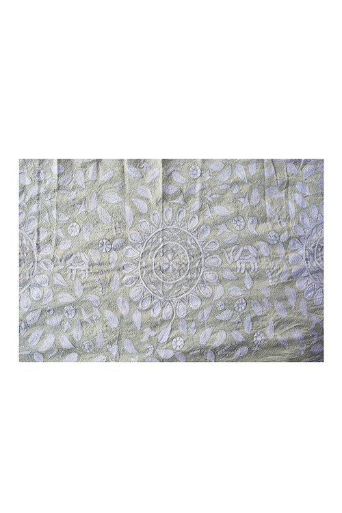 Kantha Handcrafted Needle work Mixed Tussar White Stole