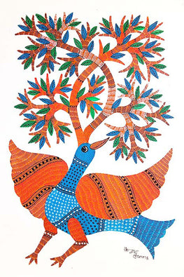 Kailash Pradhan Gond Painting of Peacock