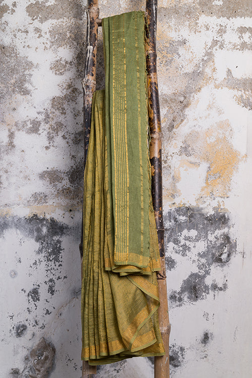 Qissaa Coppery Handwoven Green Pure Linen Saree Online